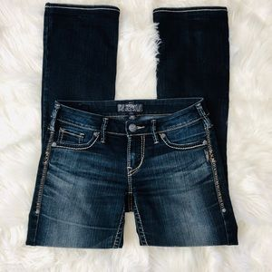 Silver Aiko Distressed Bootcut Jeans